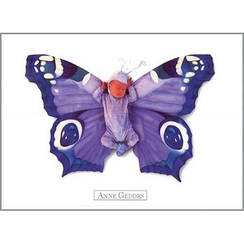 Pohlednice Anne Geddes modrý motýl