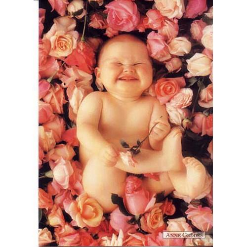 Pohlednice Anne Geddes dítě v růžích