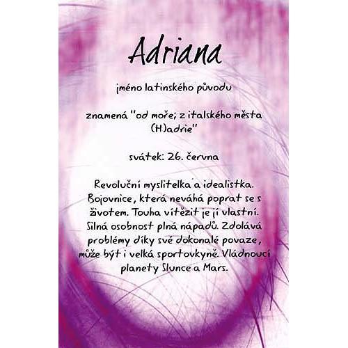 Blahopřání Kouzlo tvého jména Adriana