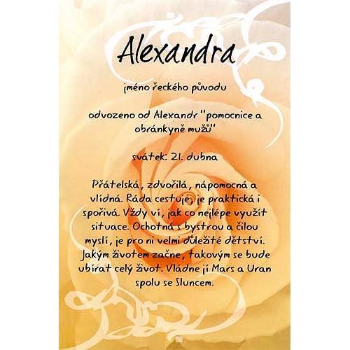 Blahopřání Kouzlo tvého jména Alexandra
