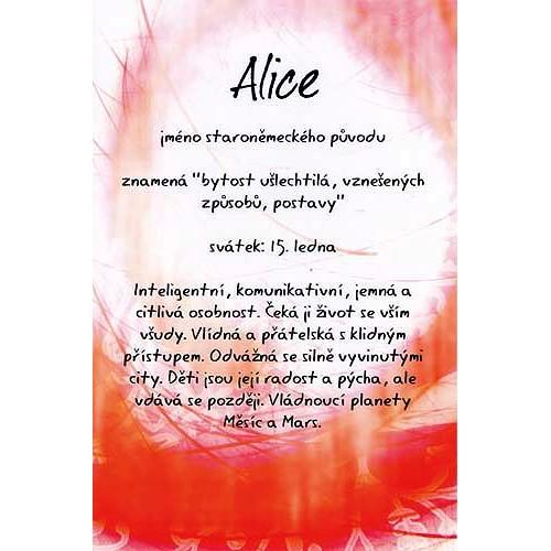 Blahopřání Kouzlo tvého jména Alice