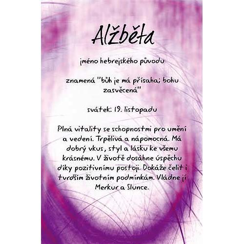 Blahopřání Kouzlo tvého jména Alžběta