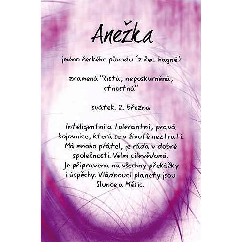 Blahopřání Kouzlo tvého jména Anežka