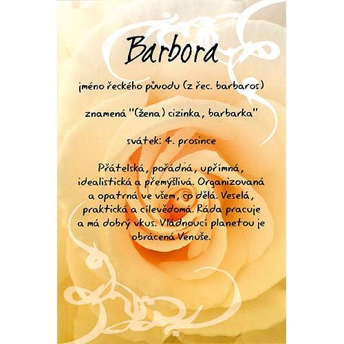 Blahopřání Kouzlo tvého jména Barbora