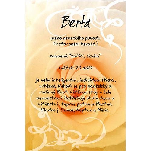 Blahopřání Kouzlo tvého jména Berta