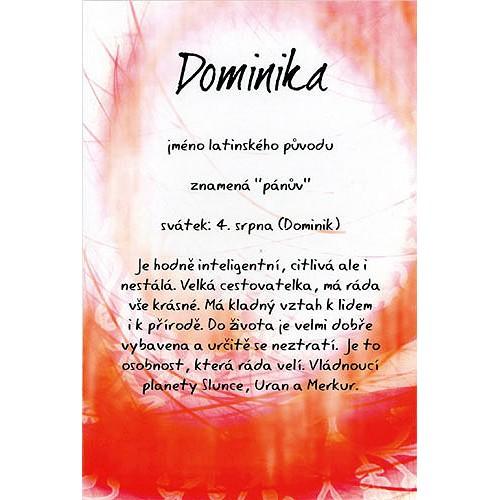 Blahopřání Kouzlo tvého jména Dominika
