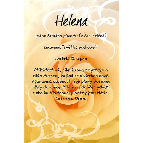 Blahopřání Kouzlo tvého jména Helena