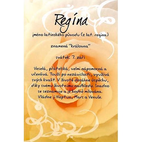 Blahopřání Kouzlo tvého jména Regína