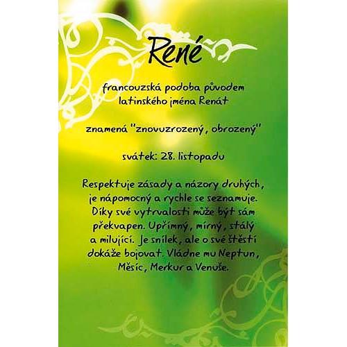 Blahopřání Kouzlo tvého jména René