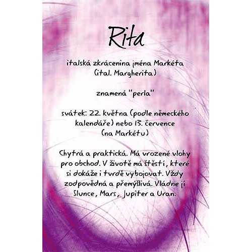 Blahopřání Kouzlo tvého jména Rita