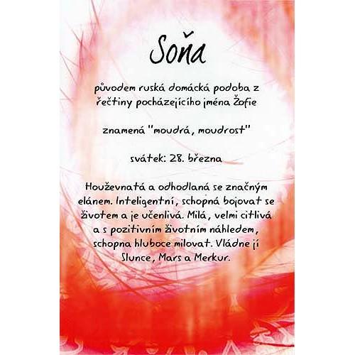 Blahopřání Kouzlo tvého jména Soňa
