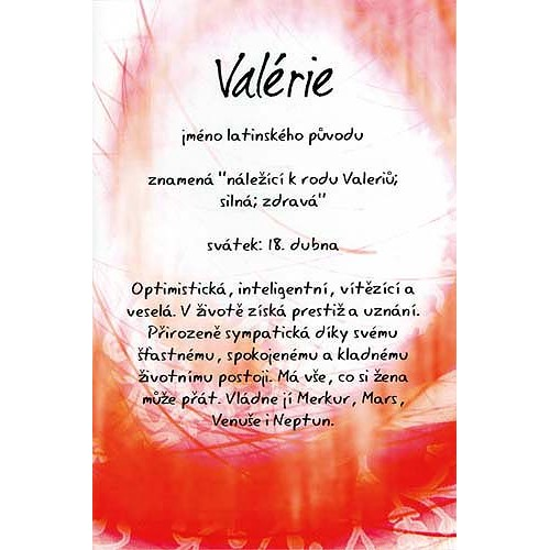 Blahopřání Kouzlo tvého jména Valérie