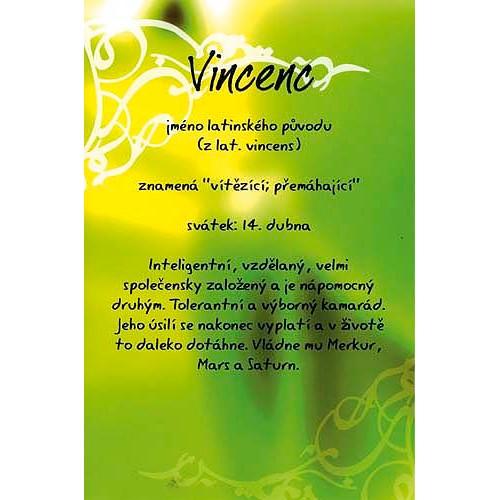 Blahopřání Kouzlo tvého jména Vincenc