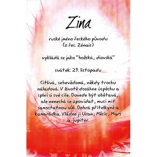 Blahopřání Kouzlo tvého jména Zina