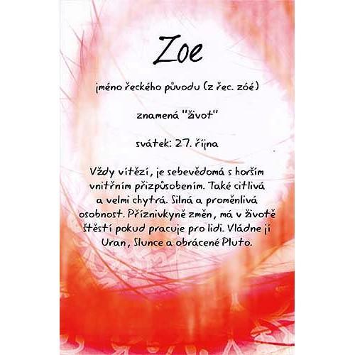 Blahopřání Kouzlo tvého jména Zoe