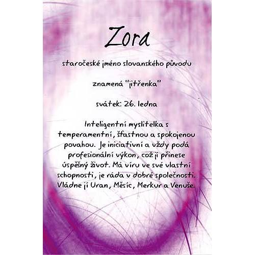 Blahopřání Kouzlo tvého jména Zora