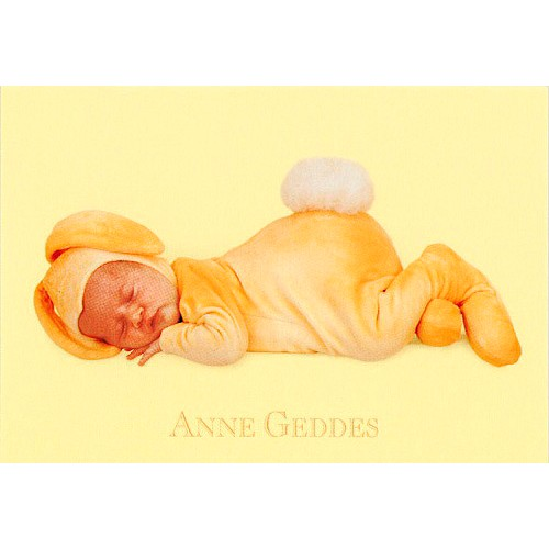 Blahopřání Anne Geddes Blahopřání malé, ECI - králíček spící žlutý