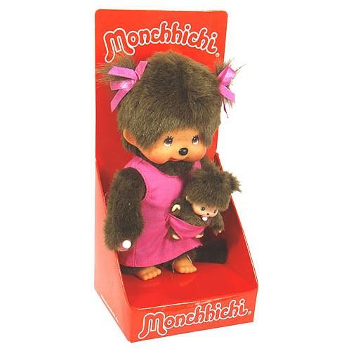 Plyš Monchhichi 20cm a Bebichhichi Monchhichi 20cm v růžových šatech + Bebichhichi