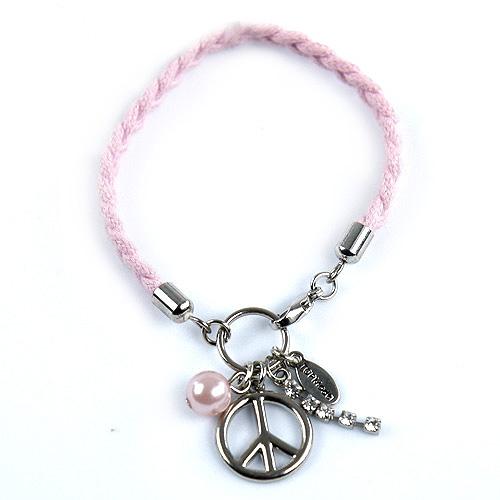 Náramek s přívěsky Top Model Peace světle růžová, 038313