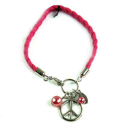 Náramek s přívěsky Top Model Peace růžová, 038314