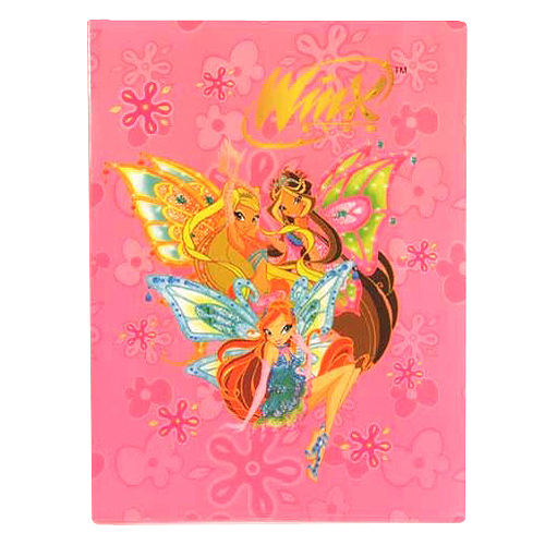 Desky A4 Winx Club Desky na dokumenty A4 20 kapes WinX s křídly světle růžová