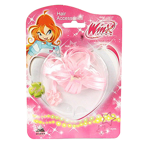 Sponka do vlasů Winx Club Sponka do vlasů mašle kvítka WinX světle růžová