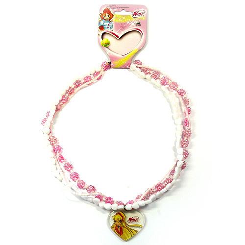 Náhrdelník Winx Club Náhrdelník 14 korálky Stella světle růžová