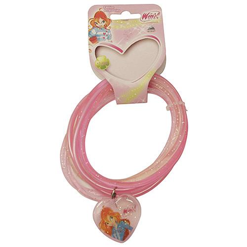 Náramky PVC Winx Club přívěsek srdce Bloom světle růžová, 040085