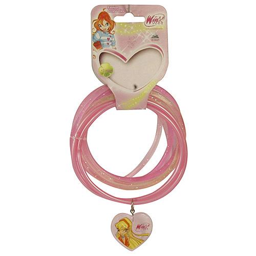 Náramky PVC Winx Club přívěsek srdce Stella světle růžová, 040086