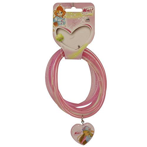 Náramky PVC Winx Club přívěsek srdce Flora světle růžová, 040087