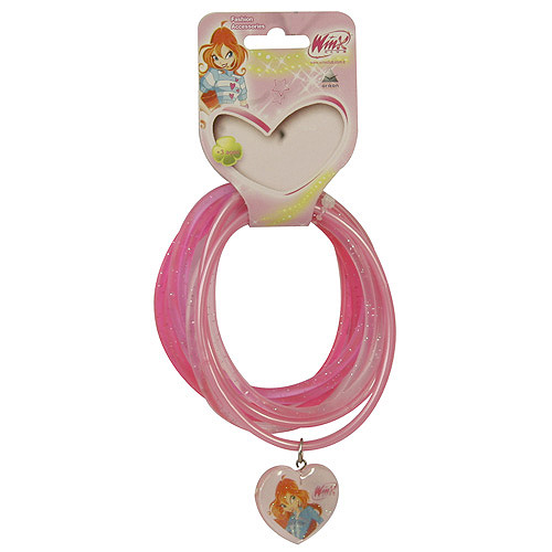 Náramky PVC Winx Club přívěsek srdce Bloom tmavě růžová, 040088