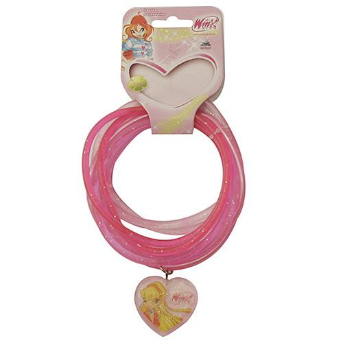 Náramky PVC Winx Club přívěsek srdce Stela tmavě růžová, 040089