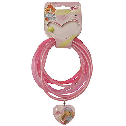 Náramky PVC Winx Club přívěsek srdce Flora tmavě růžová, 040090