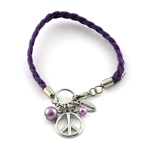 Náramek s přívěsky Top Model Peace fialová, 042078