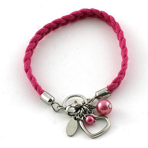 Náramek s přívěsky Top Model srdce růžová, 042079