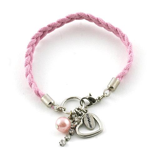 Náramek s přívěsky Top Model srdce světle růžová, 042080
