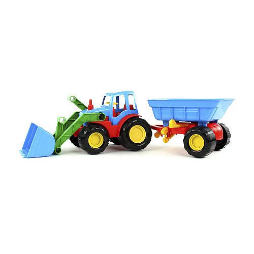 Buldozer s přívěsem Bino Barevný buldozer s přívěsem modro-červený
