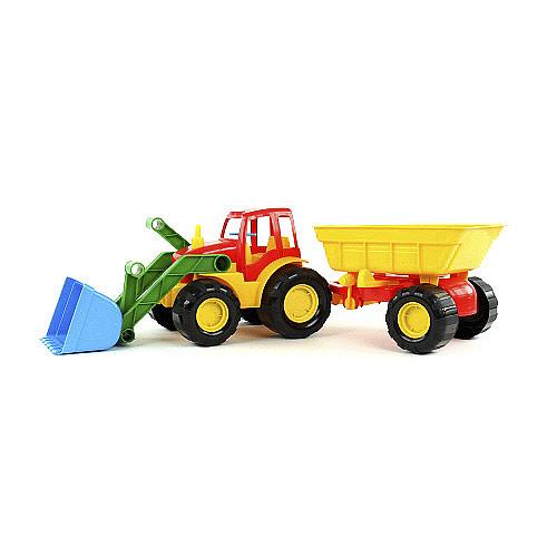 Buldozer s přívěsem Bino Barevný buldozer s přívěsem žluto-červený