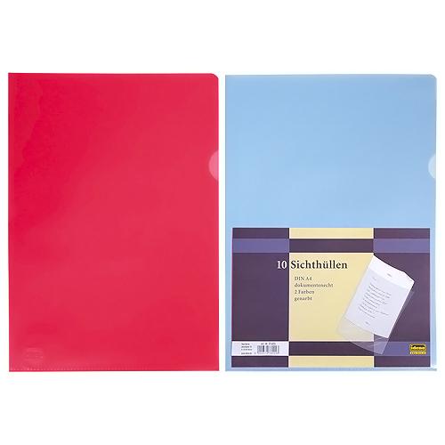 Idena Prospektový obal A4 zrnitý, modrý,červený, 0,08mm