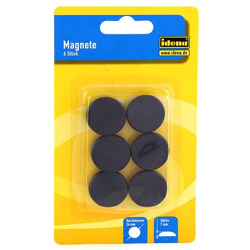 Magnet 6ks Idena černý, ?24mm