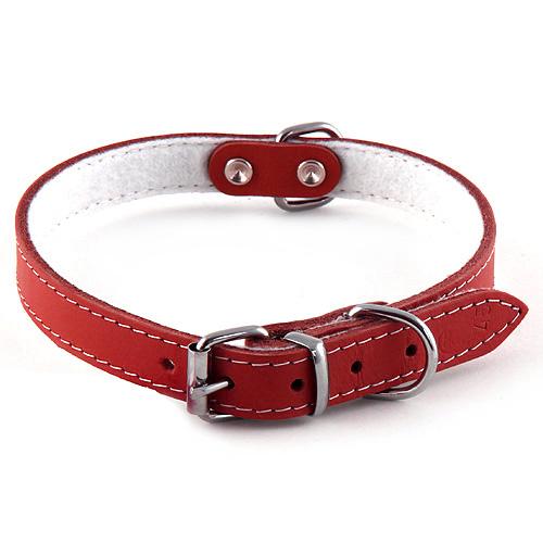 B & F Obojek kožený 1,6x40cm červený podšitý filcem