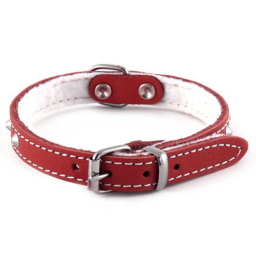 B & F Obojek kožený podšitý 1,2x32cm červený zdobený jehlánky