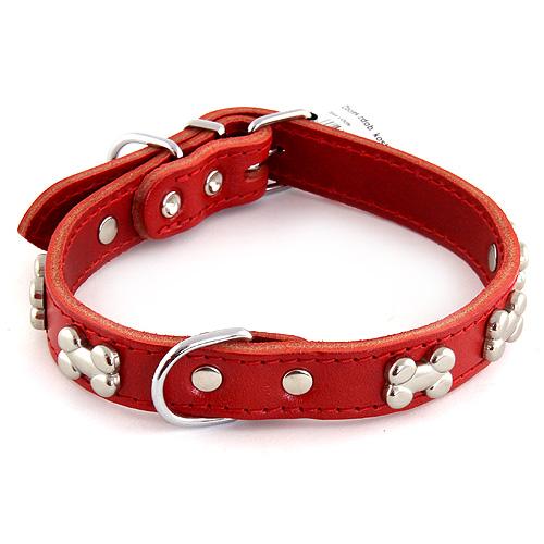 B & F Obojek zdobený kostičkami 2,5x50cm červený