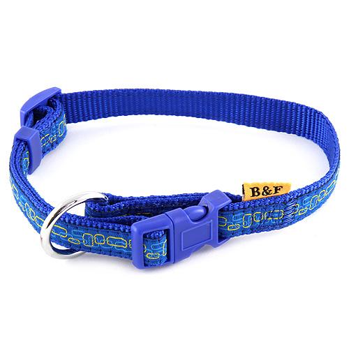 B & F Obojek popruhový 1,5x30-50cm modrý obdelníčky