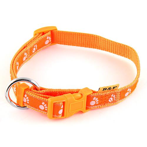 B & F Obojek popruhový 1,5x30-50cm oranžový tlapky
