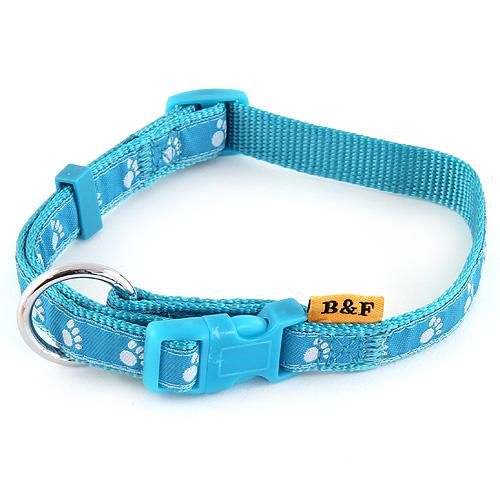 B & F Obojek popruhový 1,5x30-50cm světle modrý tlapky