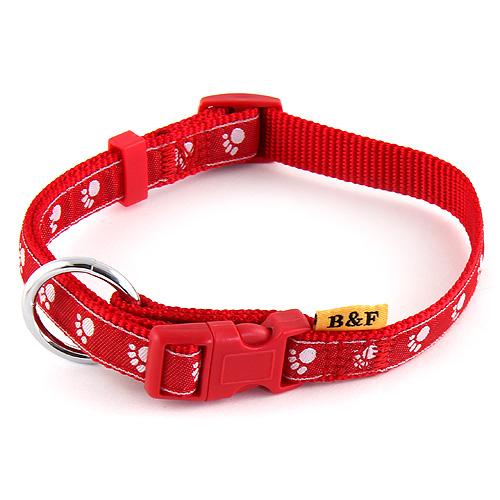 B & F Obojek popruhový 2,0x38-60cm červený tlapky
