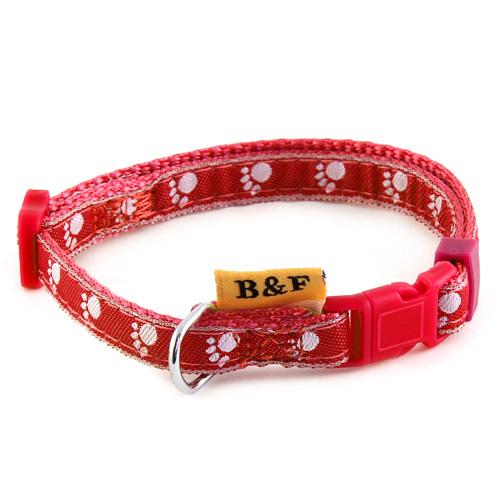 B & F Obojek popruhový 1,0x26-35cm červený tlapky