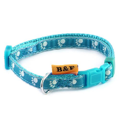 B & F Obojek popruhový 1,0x26-35cm světle modrý tlapky