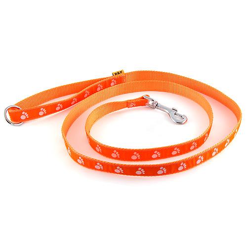 B & F Vodítko popruhové 1,5m 1,5x150cm oranžové tlapky